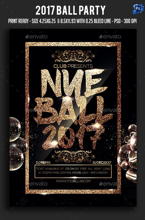 2017 Ball Party Flyer Template PSD