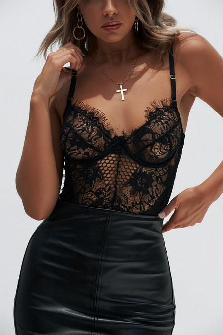 94aad6417c7 Khloe Lace Bodysuit (Black) | My Style | Outfits, Club outfits, Lace ...