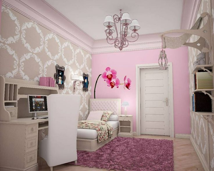 I like the pink wall and grey wallpaper together, would be sweet for my toddler's room