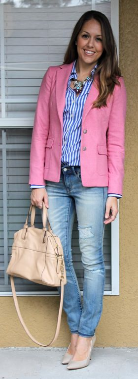 J's- interesting way to wear my pink blazer and my blue striped shirt. Yes, yes, yes.