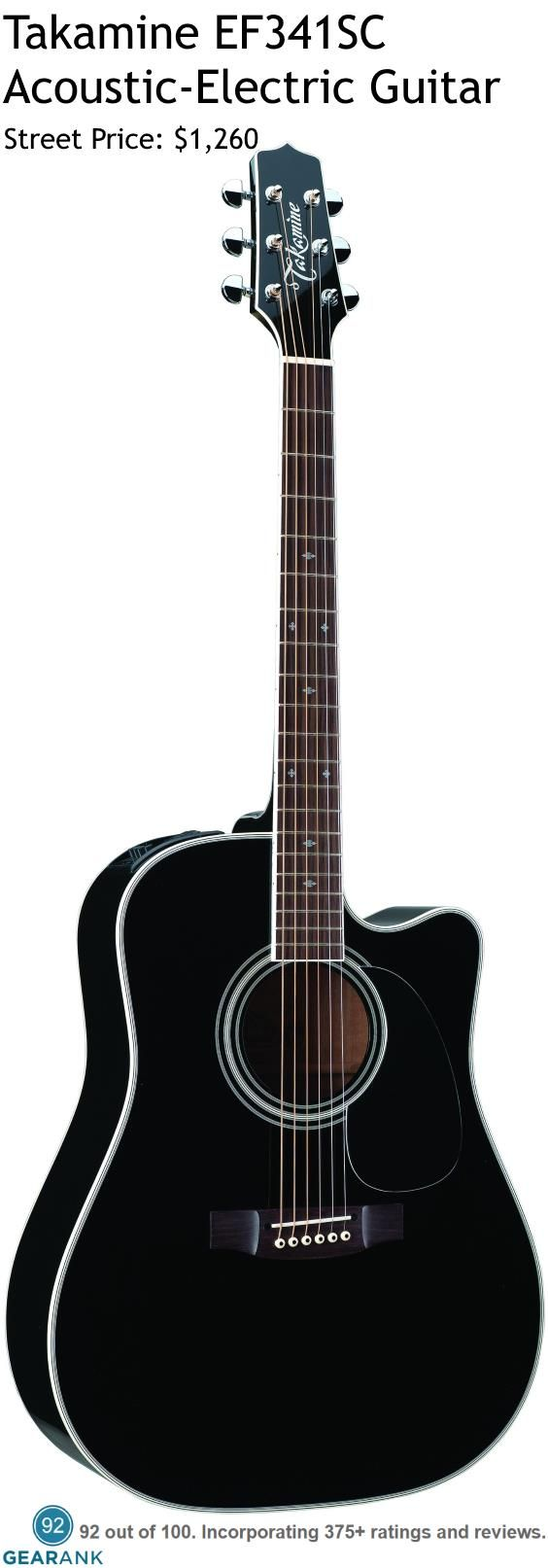 Takamine EF341SC Acoustic-Electric Guitar. It has a solid cedar top with maple back and sides. The electronics are  Takamine's CT4B II preamp system paired with their Palathetic under-saddle pickup.  For a Detailed Guide to Acoustic Guitars see https://www.gearank.com/guides/acoustic-guitars