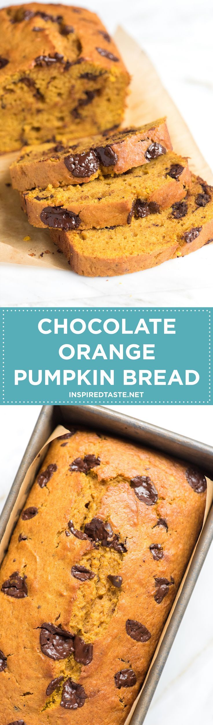 This easy pumpkin bread recipe scented with orange and filled with chopped chocolate is a winner. Not too sweet, extremely moist and perfect for fall! From inspiredtaste.net | @inspiredtaste