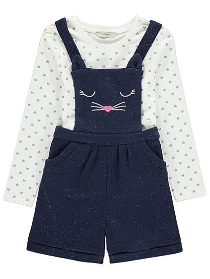 We've fallen in love with the adorable, sparkling design of these embroidered cat-face dungarees. The long sleeve top features a sparkling love-heart print a...