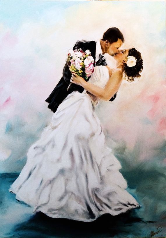 Custom Original Oil Painting Wedding Portraiture From Photo 2 Person Scenes 24