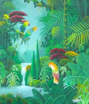 "Albott Bonhomme - Haitian artist | ""Three Birds in a Forest"" 24""x20"" Original Acrylic on Canvas 2011 for Sale at Nader Haitian Art Gallery's..."