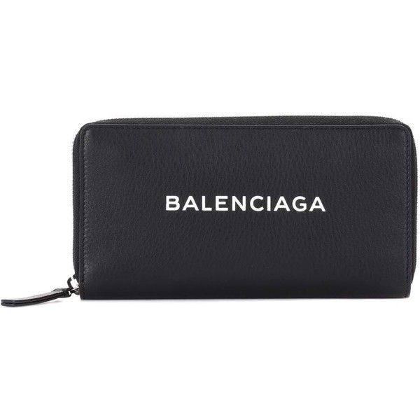 Balenciaga Zip-Around Leather Wallet ($445) ❤ liked on Polyvore featuring bags, wallets, black, balenciaga, balenciaga wallet, 100 leather wallet, real leather bags and real leather wallets
