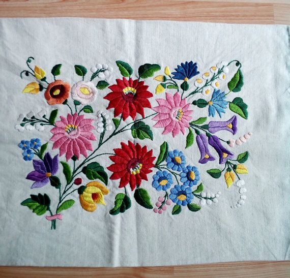 Traditional hand made hungarian embroidered natural light