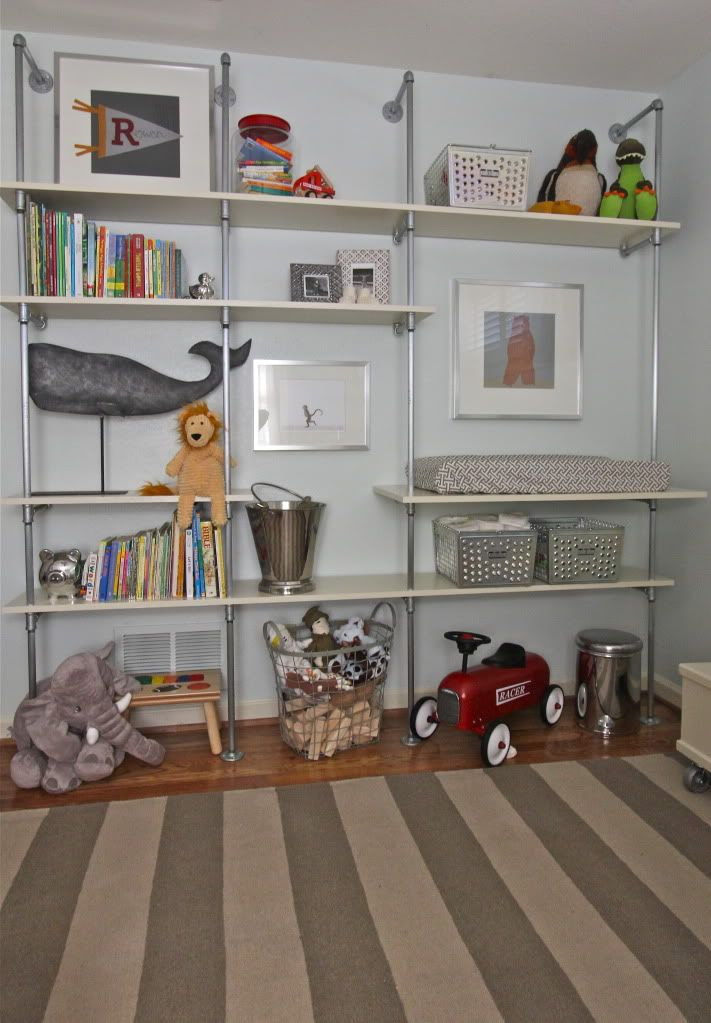 some great accents and ideas for a little boys room.: Boy Rooms, Baby Boys, Diy Pipes Shelves, Colors Schemes, Baby Animal, Shelves For Boys Rooms, Pipes Shelves Diy, Boys Nurseries Shelves, Shelves United