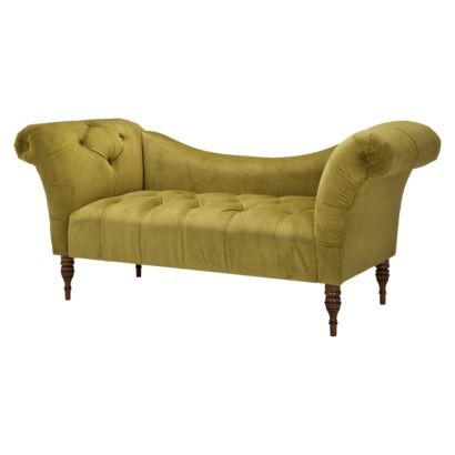 Button Tufted Chaise Settee - Avocado green. On sale at Target for about $400. Same one sold at Urban for MUCH more...