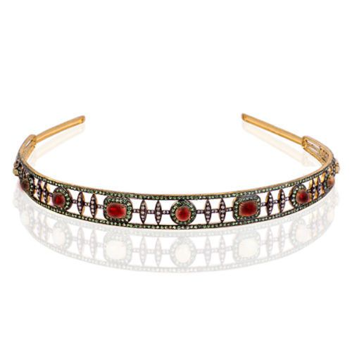 Tiara Online 13.5 ct Rose Cut Diamond Silver Antique Reprodcution