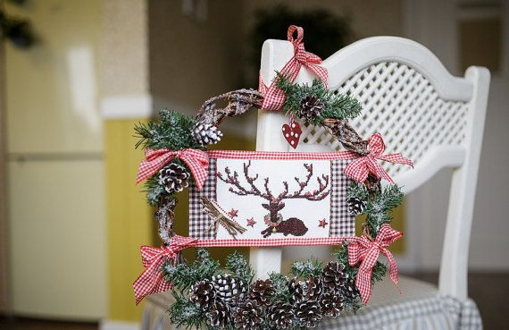 Christmas wreath with finisched embroidery cross-stitch deer/ christmas wreath emroidery/ wreath deer/ wreath natural cones/ wreath doors