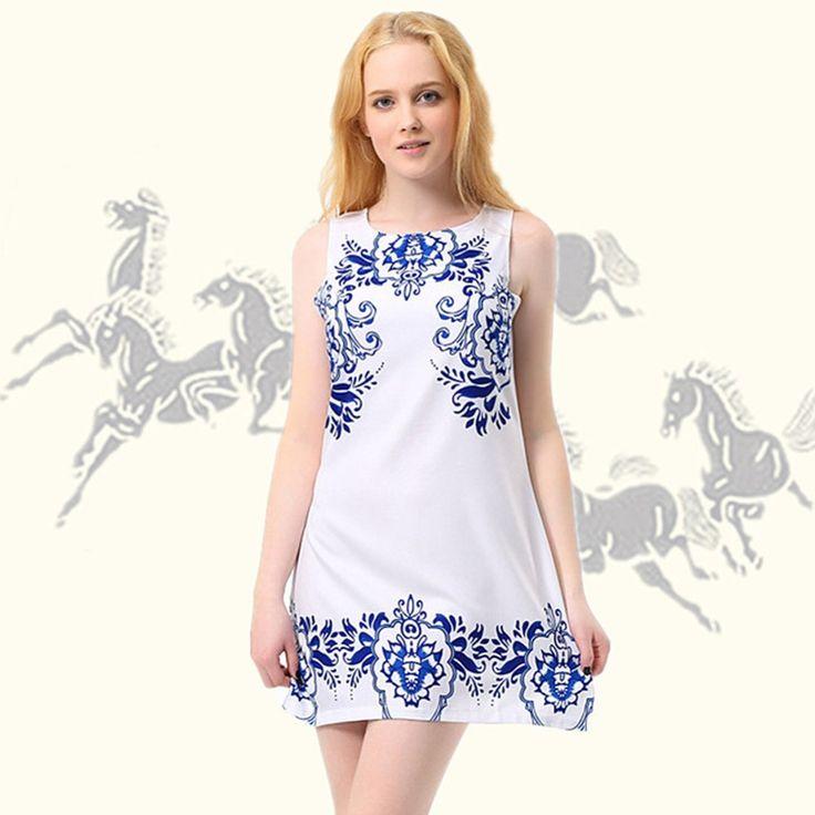 #aliexpress, #fashion, #outfit, #apparel, #shoes #aliexpress, #Summer, #Dress, #Fashion, #Women, #Sleeveless, #Vestidos, #White, #Porcelain, #Print, #Dress