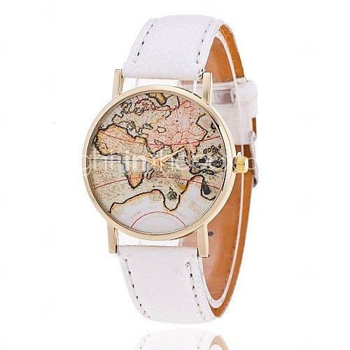 Damen Modeuhr Armband-Uhr Quartz Weltkarte Muster PU Band Schwarz Weiß Braun Marke 2017 - €5.87