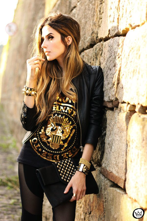 Look Du Jour: Graphic T-Shirt Studded Leather Clutch