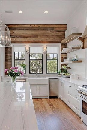 Modern Farmhouse Design, Modern Farmhouse Kitchens, Farmhouse Style, Kitchen Interior, Kitchen Decor, Kitchen Ideas, Fixer Upper Style, Cute Kitchen, Cuisines Design