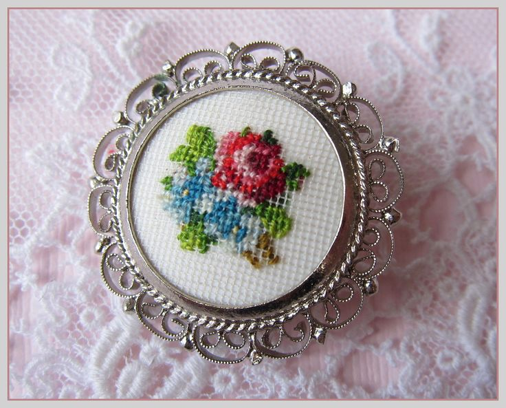 Vintage Petit Point Brooch Cross Stitch Flowers in by gradyladies