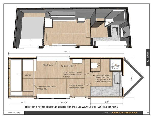Photo 10 Of 20 In 10 Tiny Home Floor Plans That Illustrate Smart Use Modern Tiny House Tiny House Plans Free Tiny House Trailer Plans