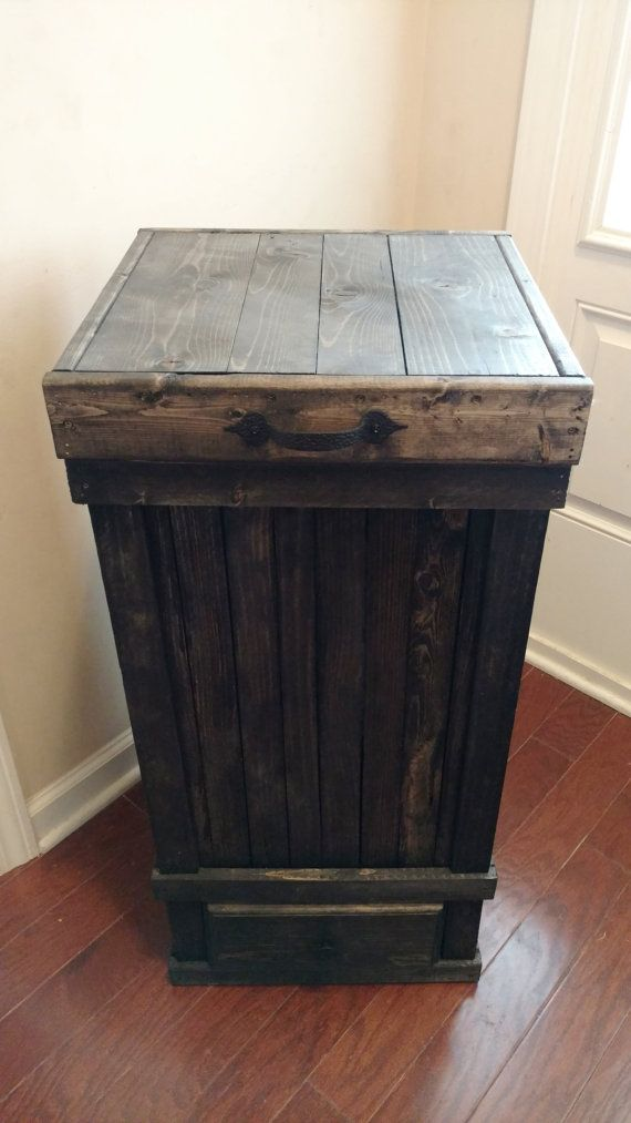 13 Gallon Trash Can with Bottom Drawer, Rustic Kitchen Trash Can, Wood Trash Can with Storage, Kitchen Trash Can, Wood Trash Bin,Garbage Bin This is a Modern 13 Gallon Wood Trash Can. This Trash Can is made from all types of Reclaimed Woods. ~~~~~~~~~~~~~~~~~ This 13 Gallon
