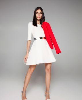 Vestido evasê com manda 3/4 (ref. I395), blazer (ref. JSF1145)
