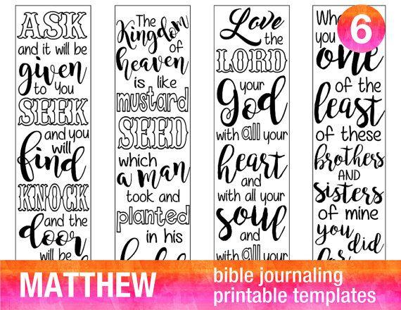 MATTHEW - 4 Bible journaling printable templates, illustrated christian faith bookmarks, black and white bible verse prayer journal download