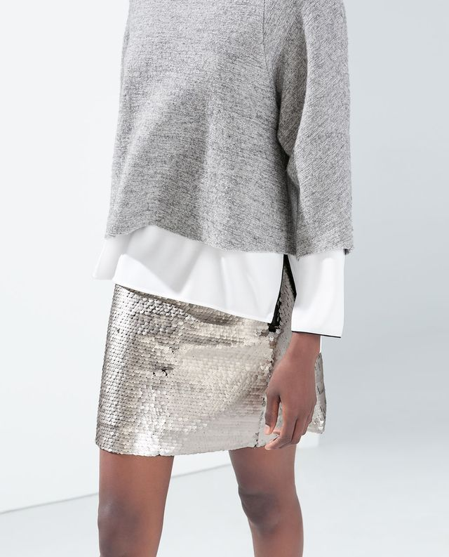 Women's fashion | Grey sweater over white shirt, silver sequins skirt