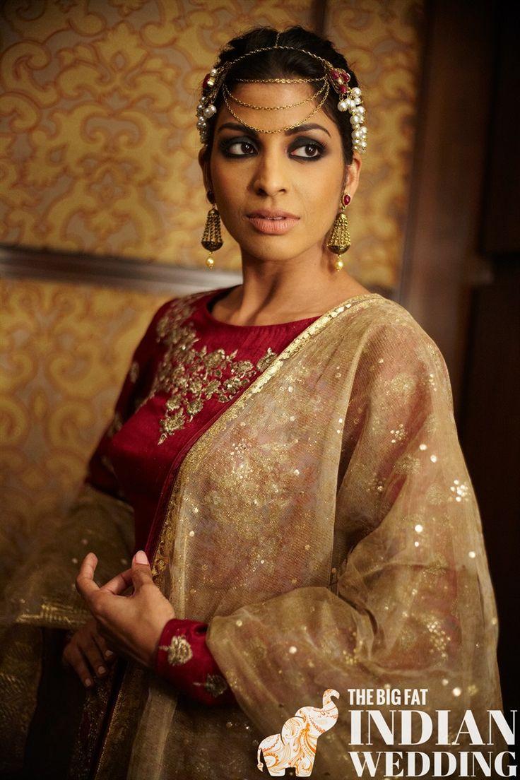 Triple strand headpiece for Indian designer Anju Modi at India Couture Week 2014 #icw2014