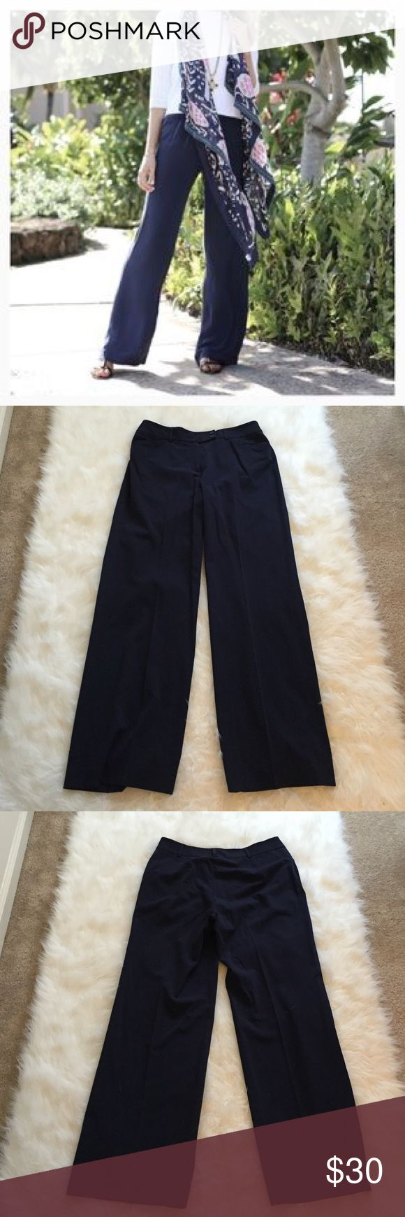 AK Dress Pants Like new navy blue wide leg dress pants. Super soft and comfortable. They make you look longer and leaner! No flaws. Anne Klein Pants