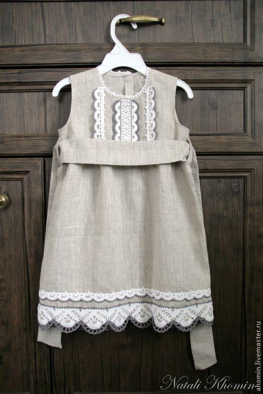 """Купить Льняное детское платье """"Деревенька"""" - серый, льняная одежда, льняное платье, детская одежда"""