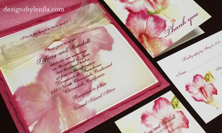 "Hawaiian favorite-the beautiful Hibiscus Wedding Invitation! For all the flower lovers out there. Original artwork by Lenila Batali. 6"" x 6"" invitation as shown includes: ~Red handtorn mulberry paper backing (hand torn edges extra) ~Watercolor design on 90# cardstock ~Vellum overlay with your text ~Ivory sheer ribbon ~Pearl fuchsia envelope sold separately Reply card, thank you card and insert card sold separately."