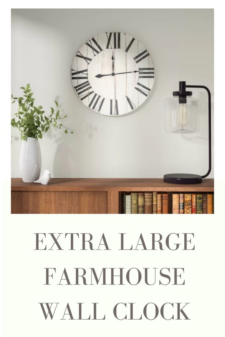 Extra Large Wall Clock for farmhouse, rustic, country, or french decor. White wood with black roman numerals. Battery operated. #homedecor #affiliate