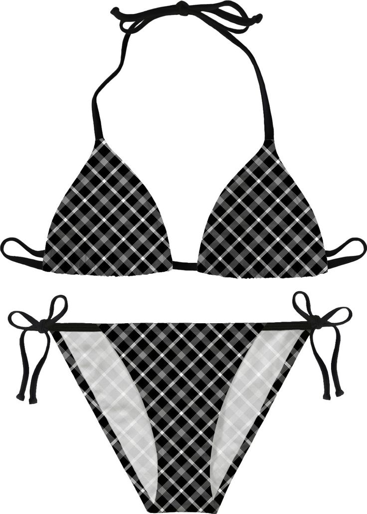 Black and white scottish tartan, buffalo plaid pattern bikini design, retro style swimsuit, sunbathing set - for more art and design be sure to visit www.casemiroarts.com, item printed by RageOn at www.rageon.com/a/users/casemiroarts - also available at www.casemiroarts.com - This product is hand made and made on-demand. Expect delivery to US in aprox. 11-20 business days (international 14-30 business days). #bikini #clothing #style #unique #beach #fashion #apparel #sexy