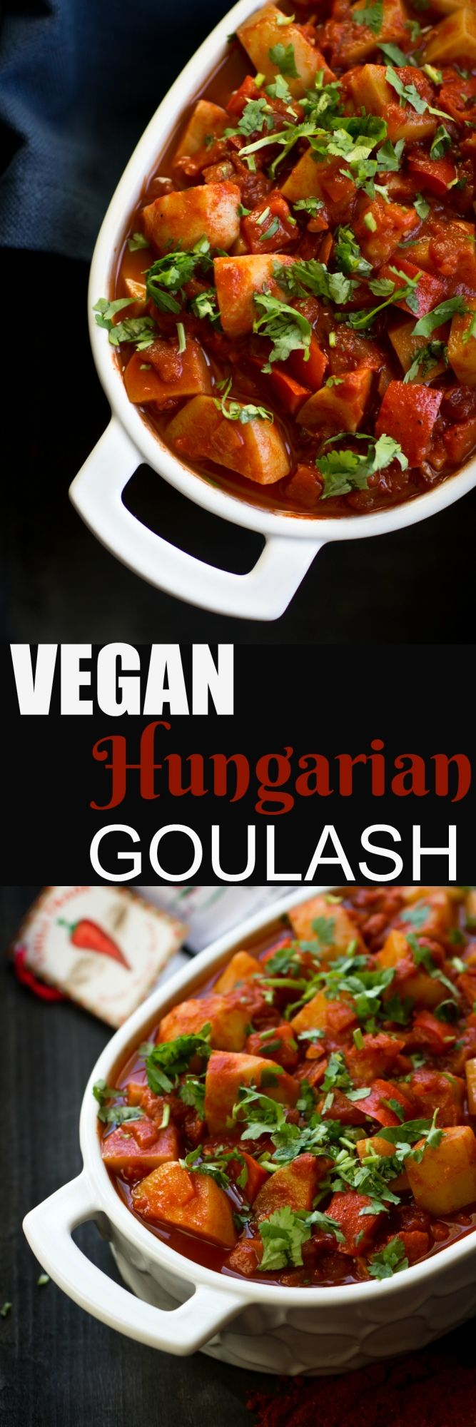 This Vegan Hungarian Goulash is similar to traditional, but with a vegan twist. This is a meatless goulash, but I promise you won't miss it. It is hearty, savory and with a touch of red wine to give it a truly delicious deep flavor. via @thevegan8
