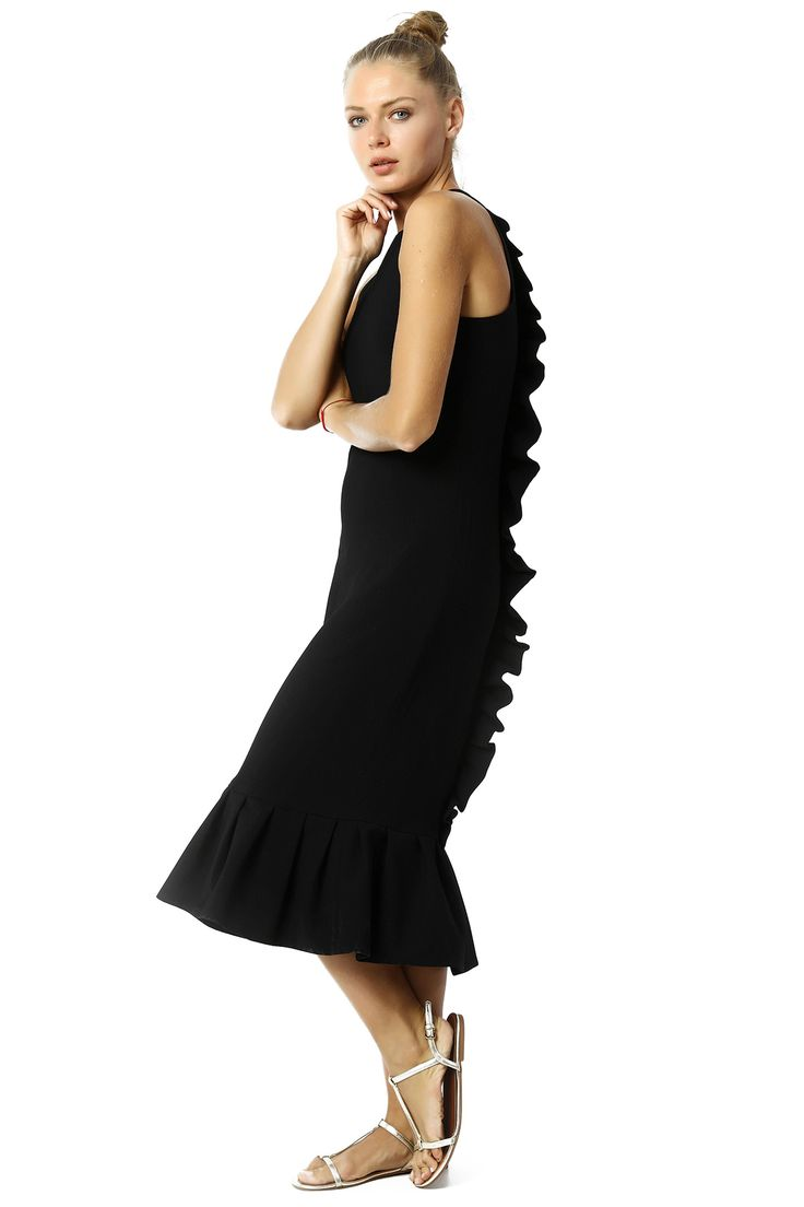 FLYWHEEL LONG DRESS WITH DETAILS ON SHOULDER %100 RAYON