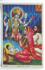 India 1950's Art Print BIRTH OF KRISHNA 37920