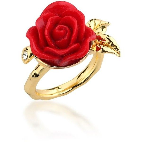 Beauty and the Beast Enchanted Rose Ring | Disney Couture Jewellery ($45) ❤ liked on Polyvore featuring jewelry, rings, rose gold rings, gold jewellery, polishing gold jewelry, rose ring and yellow gold rings