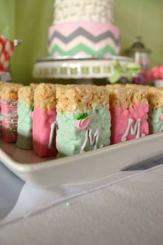 Pink, mint, gray, chevron Baby Shower Party Ideas   Photo 7 of 22   Catch My Party