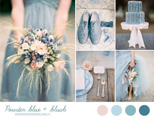 Powder blue and blush wedding inspiration   more on http://weddingwonderland.it/2014/06/matrimonio-azzurro-rosa.html