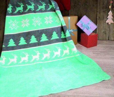 Vianočná deka 150x200 cm (mätová)