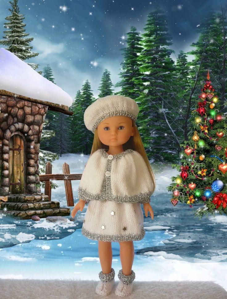 Ensemble robe, cape, béret et bottines pour poupée Chérie (Adaptation du modèle de Nathalie  du blog « Histoires de Poupées » du 16 octobre 2015: 1) http://marieetlaines.canalblog.com/archives/2015/12/13/32885393.html 2) http://p5.storage.canalblog.com/53/09/1066432/107349424_o.jpg 3) http://p5.storage.canalblog.com/52/69/1066432/107349457.pdf