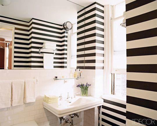 bathroom: Stripes Bathroom, Elle Decor, Small Bathroom, Stripes Wall, Black And White, Subway Tile, Interiors Design, White Bathroom, Black White Stripes