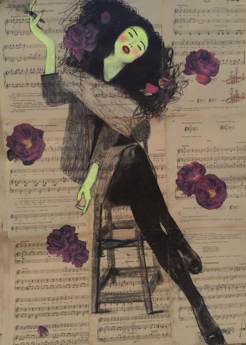 Balabina Anastasia - Untitled  Kolen op een vintage bladmuziek boekGemengde stijl: сharcoal kolen acrylverf stoffen gedrukt.Opgericht in 2017 is het kolen op een vintage bladmuziek boek de totale grootte schilderijen over (85 cm 61 cm) (85 cm 61 cm)Direct vanuit de studio van de kunstenaar.Originele kunst handgemaakte!Aanbevelingen voor de tekeningen van de kunstenaar.De foto's is kwetsbaar omdat het is geschilderd op papier met houtskool. Ik adviseer om te plaatsen onder het glas in het…