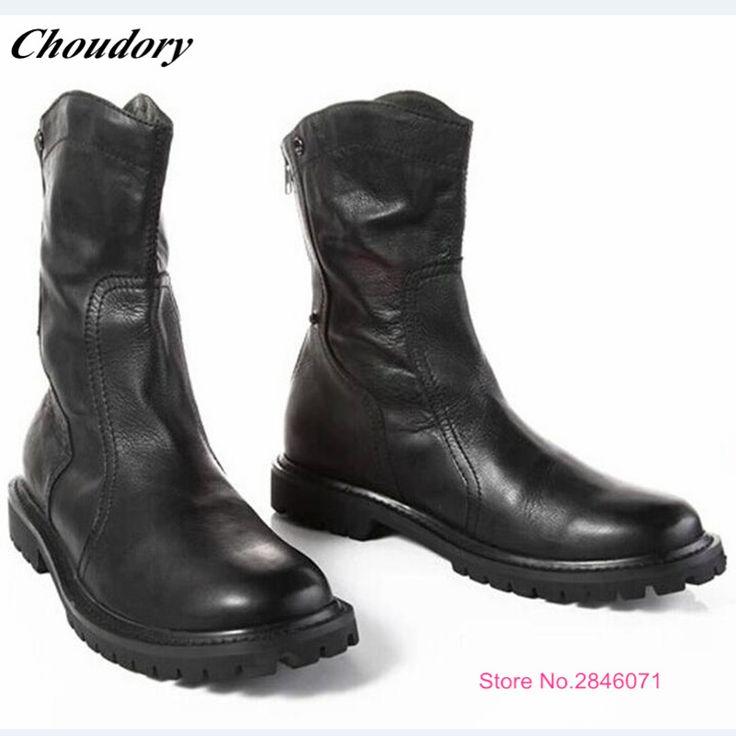 >> Click to Buy << Full Grain Leather Chelsea Boots Back zipper Falt Martin Boots Men Handmade Cowboy Boots Sapato Masculino Mid-Calf Botas Hombre #Affiliate
