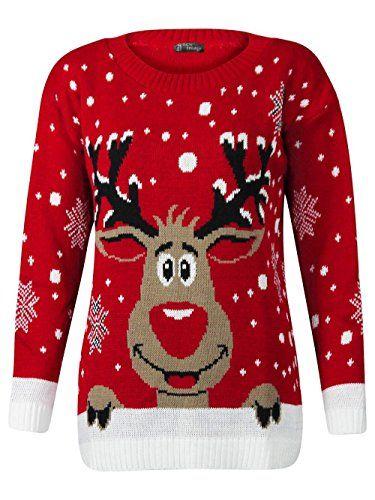 Fashion Valley – Pull fantaisie Noël femme tricoté Rudolph le Renne – S/M 36/38, Rouge Rudolph