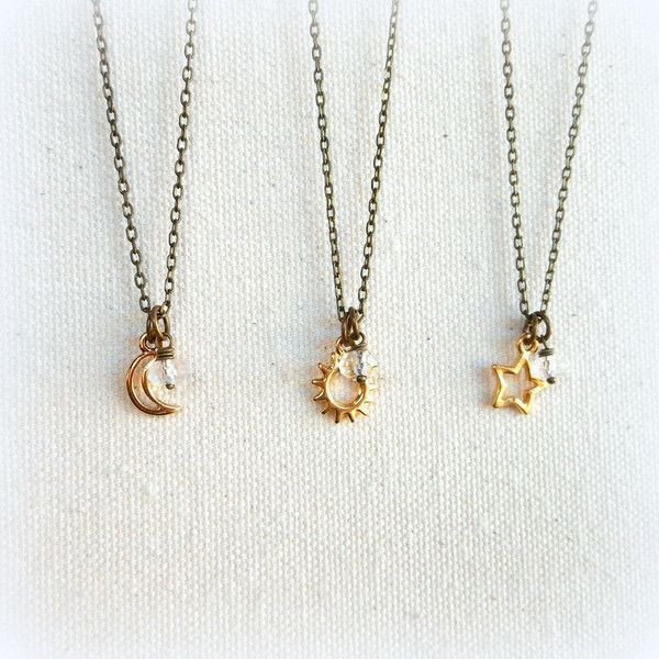 Best friend sun moon star necklaces his and hers best friend gift... (580 MXN) ❤ liked on Polyvore featuring jewelry, necklaces, initial charm necklace, initial charms, lobster claw charms, star charms and beaded necklaces