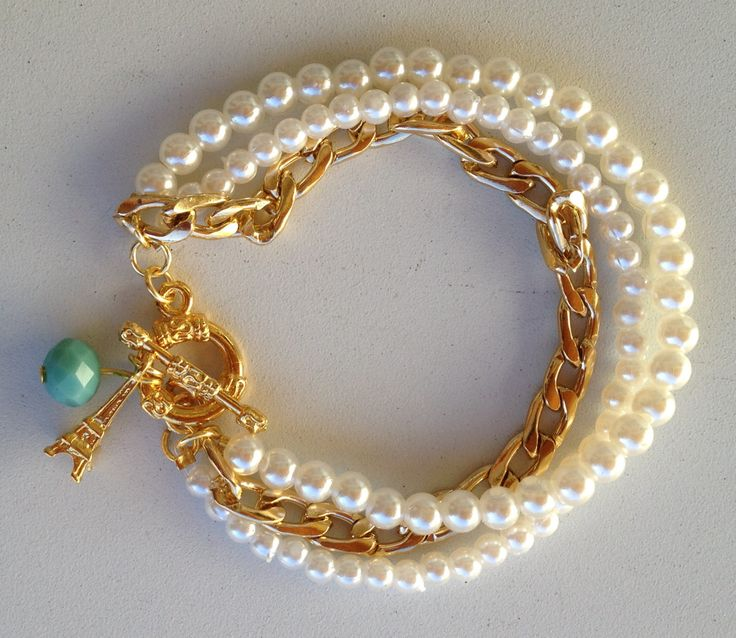 Pearls and chain bracelet pulseira de perolas e corrente