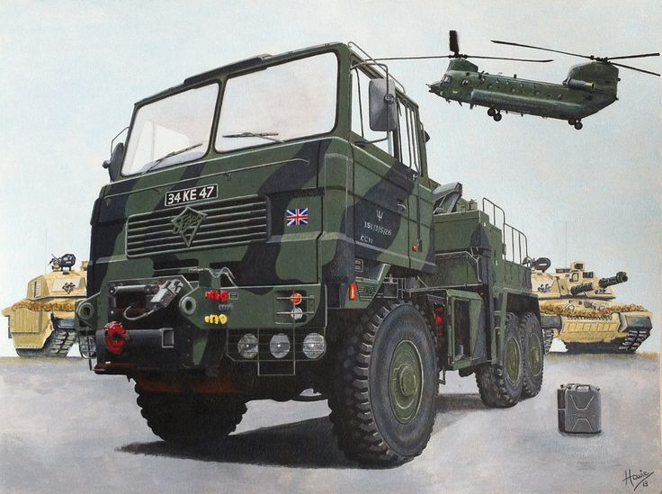 """A British Territorial Army Regiment """"Foden"""" tank recovery vehicle. In the background are two British Army """"Challenger"""" main battle tanks and a military transport """"Chinook"""" helicopter coming into land. Medium: acrylic on 18"""" x 24"""" watercolor paper."""
