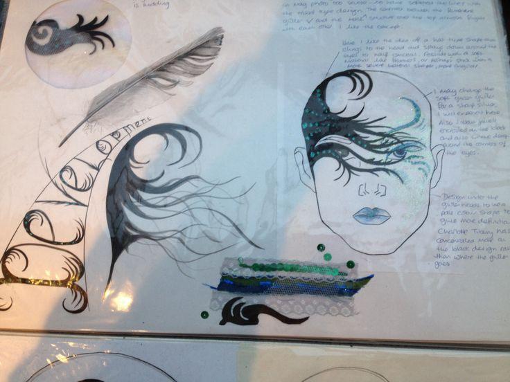 Mood board feather face design