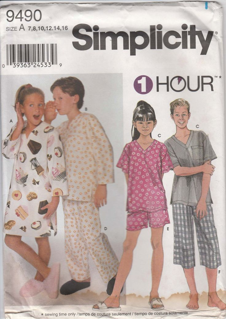 Childrens Pajama Pattern Loungewear Shirt Top Pants Shorts Gown Kids Girl Boy Size 7 - 16 Uncut Simplicity 9490 by PrettyfulPatterns on Etsy