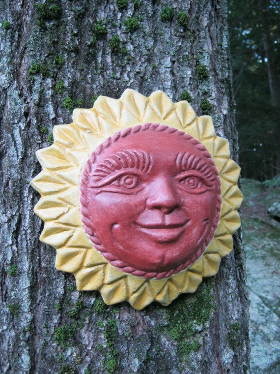 Sun Face Wall Plaque, Smiling Sun, Hanging Outdoor Garden Sun Face Plaques