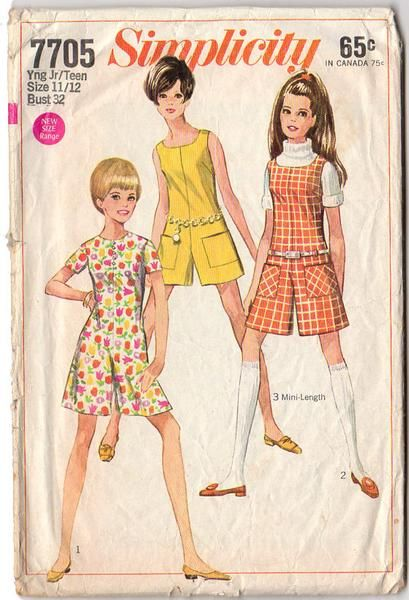 Vintage Simplicity summer wear sewing pattern 7705. Original 1960s Junior Teen Pant dress or Pant Jumper pattern. Young Junior/Teens' Pantdress or Pantjumper in two lengths, with two necklines. The co